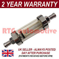 10mm UNIVERSAL LARGE IN LINE FUEL FILTER CHROME METAL & GLASS WASHABLE