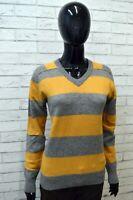 Maglione Lana D'agnello Donna LEE Taglia Size L Cardigan Sweater Pullover Grigio