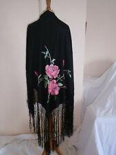 Orig. Victoriano Eduardiano/años 20 Piano Chal Black Rose Bordado flamenco gitano