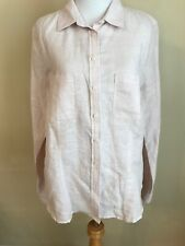 NWOT BANANA REPUBLIC Pale Pink Soft Wash Linen Cotton Shirt Top Petite LARGE