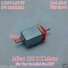 DC 3V 5V 6V 12000RPM High Speed 8mm long Double Shaft axle Mini 130 DC Motor Toy