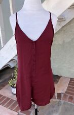 Honey punch Wine button front satin romper S