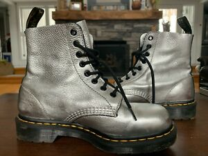 DR. MARTENS SILVER PASCAL SOFT LEATHER COMBAT BOOT- Size 39  or 8 LADIES