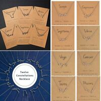 12 Constellation Zodiac Paper Card Clavicle Short Necklace Pendant Birthday Gift