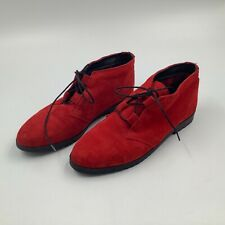 Women's Buskens Red Suede Leather Lace Up Booties Shoes Suede size 6 Spain