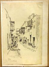 PAILLARD Henri Pierre (1844-1912) Attribué à Dessin Biskra Rue Ouled Nail v.1870