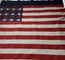 "Woolrich Wool USA Flag Throw Blanket Size 48"" X 56"""