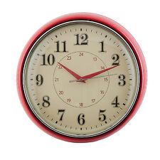 Retro Look Wanduhr Nostalgie Stil Metall Rot Beige Glas Küchenuhr Uhr Quartzuhr