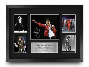 Michael Jackson A3 Framed Musician Signed Autograph Picture Print for Music Fan