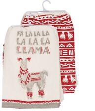 FA LA LA LA LLAMA Christmas Tea Towels, Set of 2, Primitives by Kathy