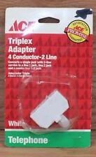 Genuine ACE (3165560) Triplex 4 Conductor - 2 Line Telephone Adapter **READ**