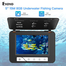 "5"" 15M Underwater Camera 130° HD 1000TVL 8GB DVR Fishfinder IR+White LED Lights"