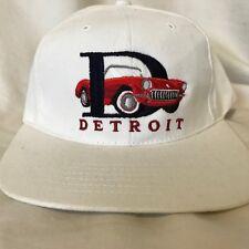 Vintage Detroit Embroidered Corvette Strapback Hat Cap EUC