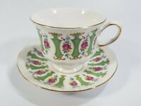 Queen Anne Bone China Tea Cup and Saucer Pink Rose Floral w/ Gold Trim England