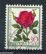 SUISSE 1972, timbre 916, FLEURS, ROSES, FLORE, FLOWERS, oblitéré