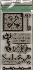 TPC Rubber Cling Stamps VINTAGE KEYS Love Smile