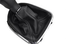 FITS SEAT LEON TOLEDO ALTEA 2006 TO 2011 BLACK LEATHER GEAR GAITER grey stitch