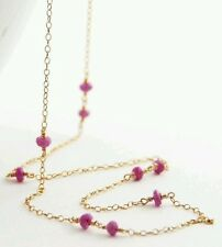 5ct genuine ruby and solid 14k 14kt yellow gold necklace 18 inches