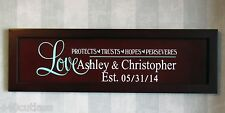 Personalized Wedding Couple Wall Gift- choice of 2 colors - cherry wood finish