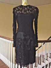 Bill Blass 1980's Vintage Couture Black Lace Silk Cocktail Formal Dress size S