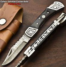 Custom Handmade Damascus Pocket Back-Lock Pocket Folding Knife   BULL HORN