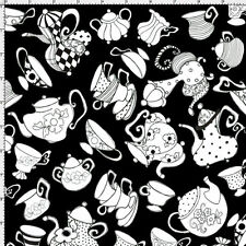 Loralie Fabric Tea Party black white cup saucer pot coffee cotton sew quilt BTY
