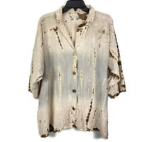 Citron Santa Monica Top Medium Beige Gray Tie Dye 3/4 Sleeve Button Down Blouse