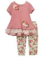 Rare Editions Girls Knit Lace Top Flowers and Leggings Set Rose Ivory
