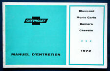 Owner's Manual * Betriebsanleitung 1972 Chevrolet Monte Carlo Camaro Chevelle