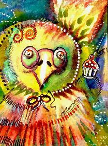 ACEO, Cupcake Dreams Come True, It can happen to YOU, Original Watercolor, Ink