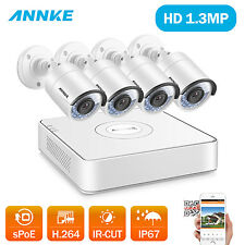ANNKE 8CH 1080P PoE NVR 1.3MP HD Video Cameras IR Home Security System 4mm Lens