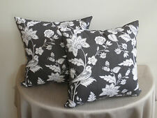 Charcoal Gray White Birds Flower Toile Look Classic Cushion Cover 45cm Au Made