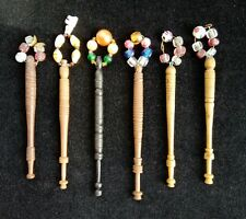 6 Rare Antique Victorian Wooden Bobbins with Spangles