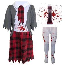 CHILDRENS KIDS ZOMBIE DEAD SCHOOL GIRL FANCY DRESS COSTUME HALLOWEEN OUTFIT