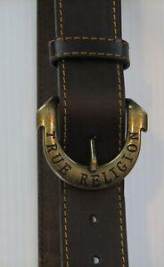 True Religion Men's Brown Gains Harness Horseshoe Belt 34
