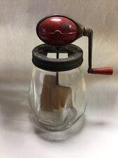 Vintage DAZEY No.4 Red Football Top Tulip Glass Jar Butter Churn 4 Quart