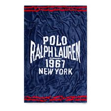 """Ralph Lauren Polo Navy Fleece Homecoming 50"""" x 70"""" Throw Blanket New"""