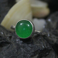 Handmade Turkish Designer Hammered Band Natural Jade Ring 925K Sterling Silver
