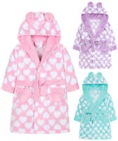 Girls Heart Print Dressing Gown New Fleece Hooded Pastel Robe Ages 2 - 13 Years