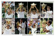 ROGER FEDERER 8 x Wimbledon Champion Autograph Tennis firmato foto stampa