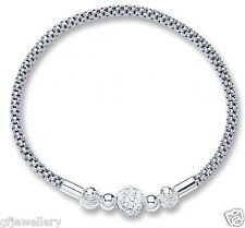 SOLID 925 HALLMARKED STERLING SILVER MESH BRACELET WITH SWAROVSKI-CRYSTAL BALL