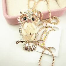 High-grade Korean Style Opal Crystal Owl Pendant Necklace Long Sweater Chain