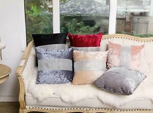 """Diamante Crushed Velvet Cushion Cover Sparkle Bling 18x""""x18"""" 45x45cm Or Buy Pad"""
