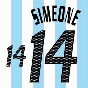 Simeone 14. Argentina Home football shirt 2002 - 2003 FLEX NAMESET NAME SET