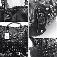 Grosse Nieten Tasche schwarz Totenkopftasche Gothic Punk Skull Bag black gothik