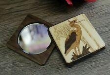 Makeup Compact Mirror Cosmetic Folding Portable Pocket Magnifying Crane Wood