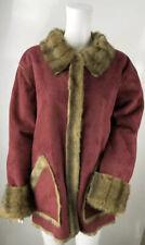2XL Centigrado Taglie 20 22 rosso in finta pelle scamosciata CINCILLA 'Pelliccia Cappotto Giacca