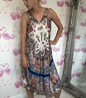 Stunning Zara Ultimate Boho Gypsy Satin Midi Floaty Dress L Festival Blogger