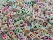 300pcs White Acrylic Bead Mixed Color Cube letters Macroporous Bead 6mm DF513