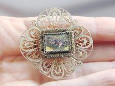 Fabulous Unusual Silver Filigree Enamel Brooch Pin With Crab NR